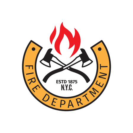 firefighters maltese cross: Fire department badge with vector cross fire axes