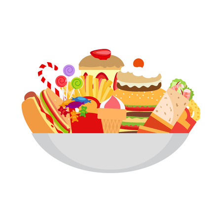 Fatty foods on the plate vector isolated object