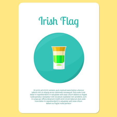 irish flag: Irish Flag Cocktail menu item or sticker. Party drink in circle icon. Vector illustration