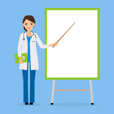 specifies: Doctor or nurse with flipchart board vector illustration