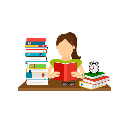 Woman sitting by the table and reading book, with stack of books next to her. Vector illustration Illustration