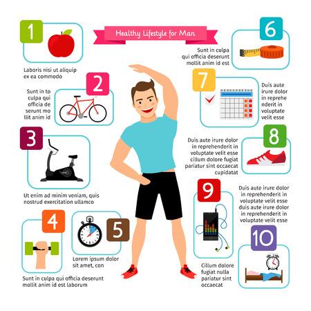 Gesunder Lebensstil infographics des Mannes. Diätlebensmittel, Sportherz, das positive Leben ist gesunde Mannvektorillustration