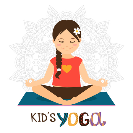 Kids yoga vector illustration with beautiful girl in lotus pose