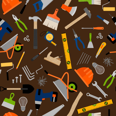 Construction instruments and equipment pattern over dark background. Vector illustration