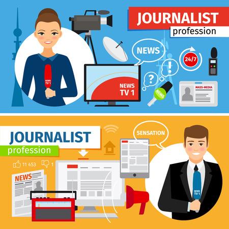 News and journalist profession horizontal banners set. Vector illustration Illustration