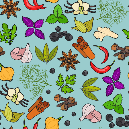 Spices colorful pattern on blue background. Vector illustration