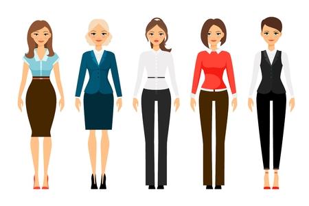 Las mujeres en el código de vestimenta de oficina iconos de la ropa en el fondo blanco. ilustración vectorial