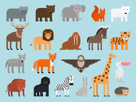 behemoth: Zoo animals flat colorful icons on blue background. Vector illustration