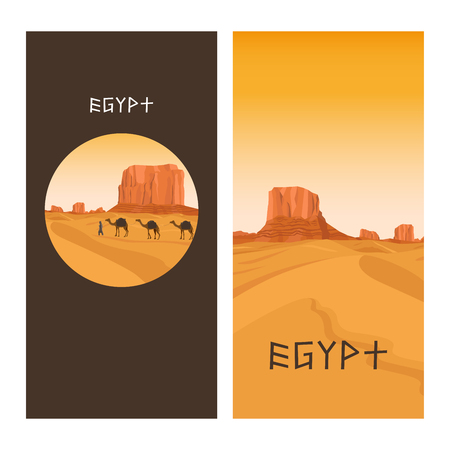 dawning: Travel flyers design with Egypt sahara desert, sand hills and camel. Vector illustration Illustration