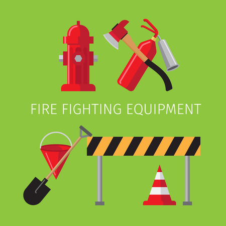 Fire fighting equipment on green background vector illustration Illustration