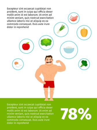 conception saine de l'affiche de vecteur de la nourriture avec l'homme heureux Illustration