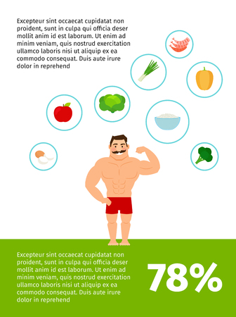 Healthy food vector poster design with happy man Illustration