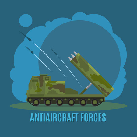 howitzer: Antiaircraft force on blue background with text vector illustration