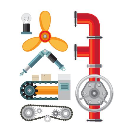 Ensemble d'icônes plat machines. Pièces de machine sur illustration vectorielle fond blanc