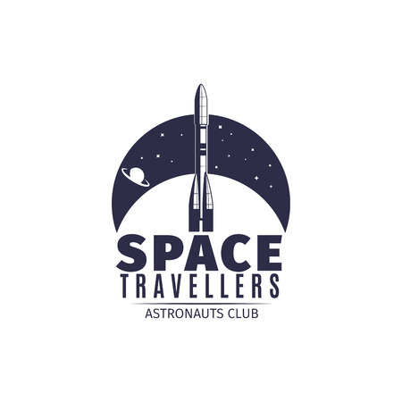 Space travellers. Astronaut club logo in retro style. Vintage astronautics label with space rocket vector illustration