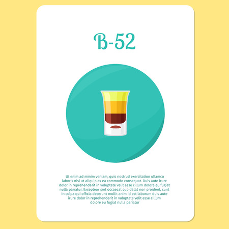 liquor: B-52 cocktail menu item or sticker. Party drink in circle icon. Vector illustration