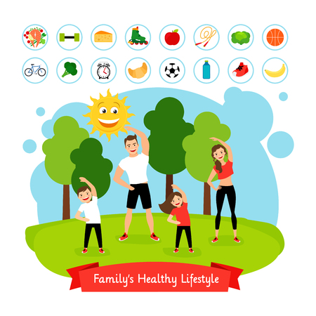 Sport family summer activity. Happy smiling family active healthy lifestyle and healthy food vector illustration