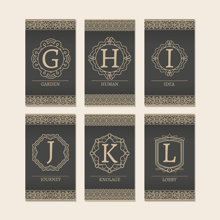 initial: Cards set with monogram logos and borders. Letters G-L vector illustration