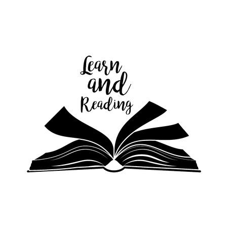 Leer en het lezen van letters citaat, open boek zwarte silhouet op wit wordt geïsoleerd. vector illustratie Vector Illustratie