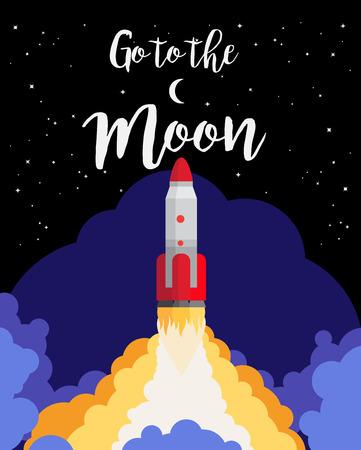 Vai al design del poster di luna con lancio di razzi spaziali contro il cielo notturno. Illustrazione vettoriale