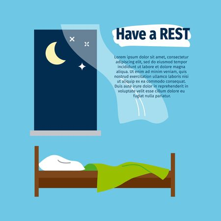 cozy: Have a rest vector poster with bed and window Illustration