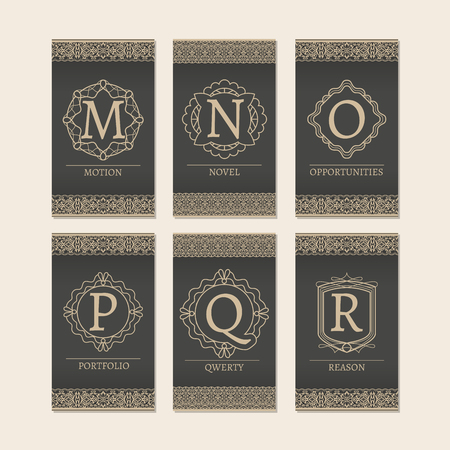 initial: Cards set with monogram logos and borders. Letters M-R vector illustration