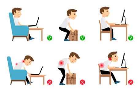 El hombre sentado, trabajando y levantar objetos pesados ??correcta y posturas incorrectas. ilustración vectorial Vectores