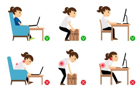 Personnage de dessin animé de femme assis et travaillant des postures correctes et incorrectes. Illustration vectorielle