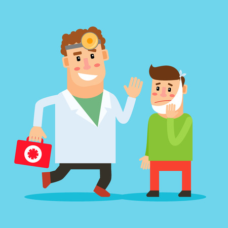 toothache: Dentist cartoon character. Stomatologist and patient with toothache. Vector illustration