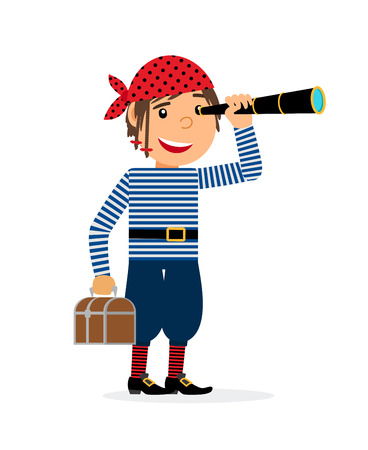 caribbean cruise: Pirate looking in the spyglass with the chest of treasures. Vector illustration