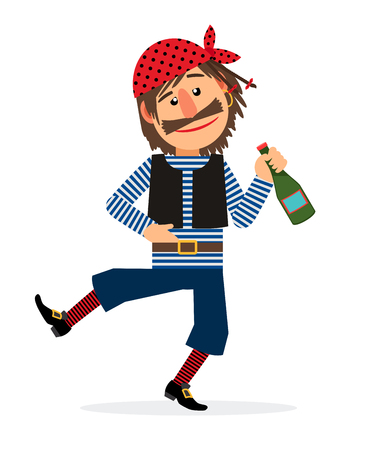rum: Pirate jolly dancing and holding the bottle of rum cartoon character on white background. Vector illustration