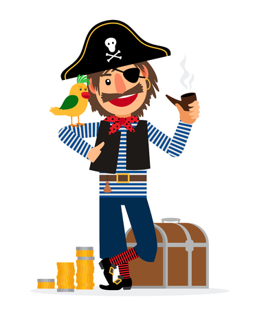 Smiling pirate character with parrot, pipe, treasure chest and coins isolated on white background. Vector illustration