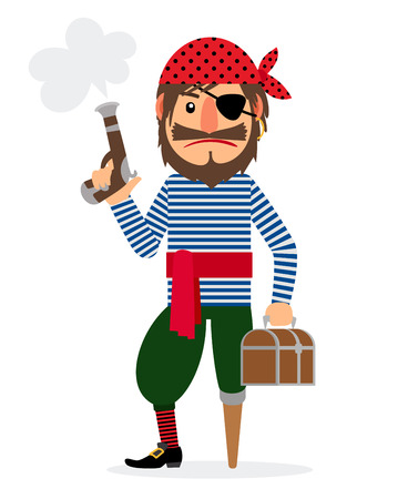 Pirate cartoon character with pistol and treasure chest. Vector illustration Illustration