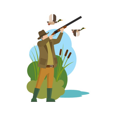 duck hunting: Hunter and prey. Duck hunting and hunter icon. Vector illustration Illustration