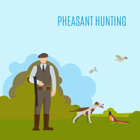gamebird: Hunting vector illustration with hunter his dog and prey. Pheasant hunting