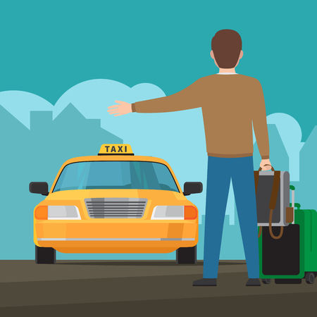 Catch a taxi colorful concept with passanger and taxi cab. Vector illustration