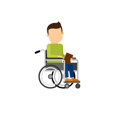 Disabled man with book. People character vector isolated illustration in flat style Vettoriali