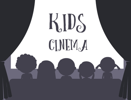 moviehouse: Kids cinema black and white silhouette and text vector illustration