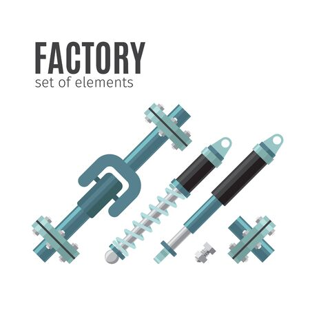 mine site: Factory, set of elements. Machinery flat icons vector illustration Stock Photo