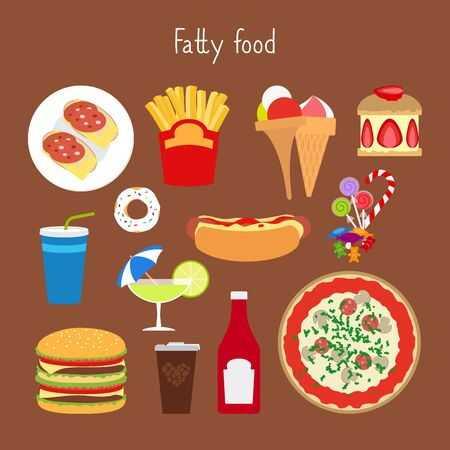 sesame seeds: Fatty food vector illustration on the brown background