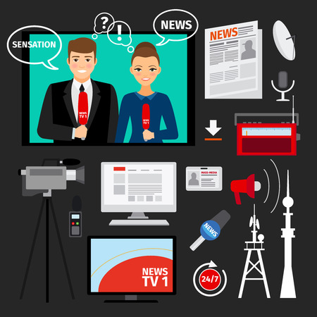 News concept illustration with television and newspapers ftal elements. Mass media vector concept Illustration
