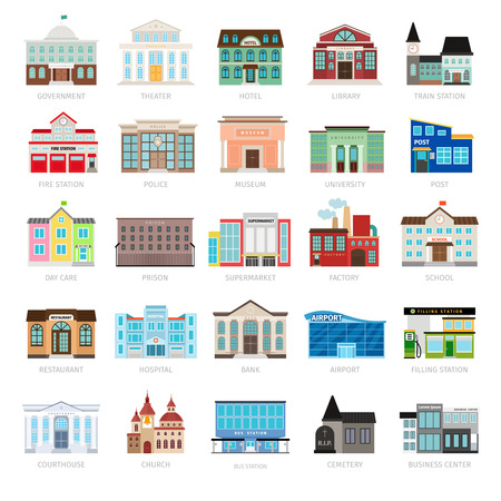 Gemeentelijke bibliotheek en stadsbank, ziekenhuis en school vector icon set. Gekleurde stedelijke overheid gebouw pictogrammen Stockfoto