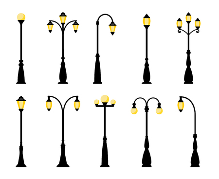 Vintage streetlights. Vector retro street lamp lights isolated on white background