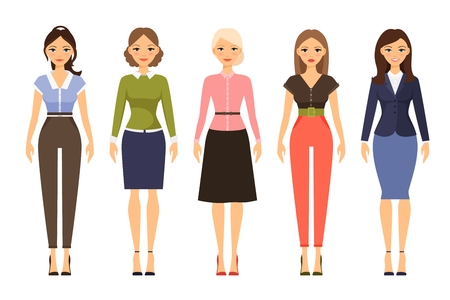 dresscode: Woman dresscode vector illustration. Beautiful women in different outfits icons on white background