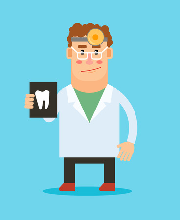 stomatologist: Dentist with tooth illustration cartoon character on blue background. Vector stomatologist icon