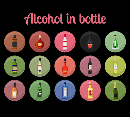 gin: Alcohol in a bottle circle icons. Drinks bottles vector illustration Illustration