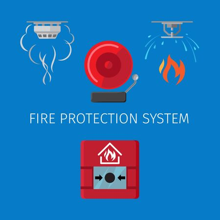 fire protection: Fire protection and alarm system vector illustration on blue background