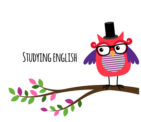 clever: Clever Owl studying English vector banner for education website Illustration