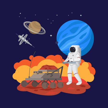 archaeology: Astronaut in space, soil experiments, space archaeology vector illustration