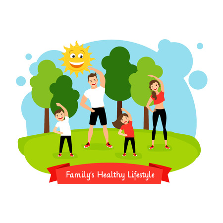 Familys healthy lifestyle isolated. Family doing sports in park together, vector illustration